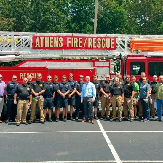 IAG has been conducting first responder training since 2015 and has worked with many departments including the Madison Police Department and Athens Fire and Rescue,pictured.